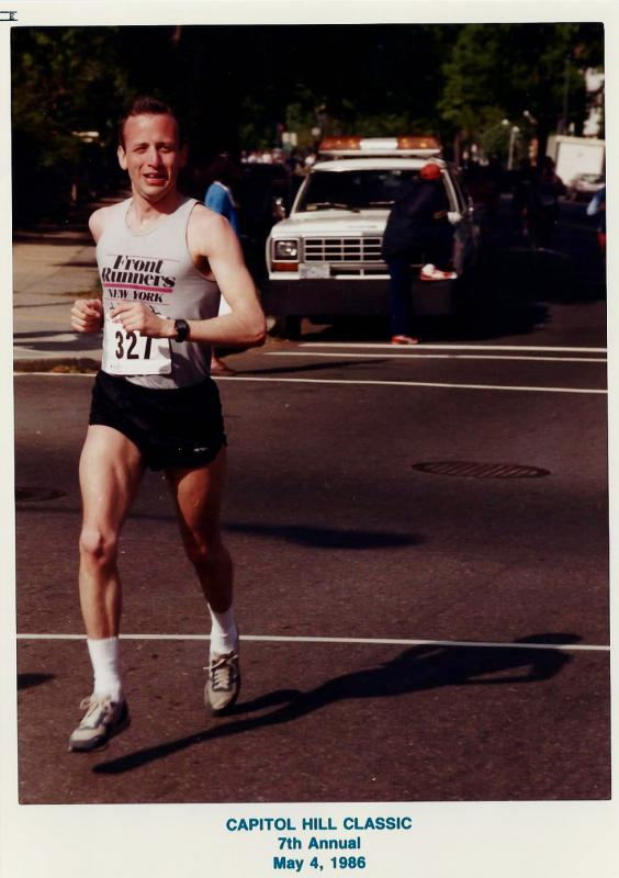 Rich Walker running the Capitol Hill Classic, Washington DC, 1986