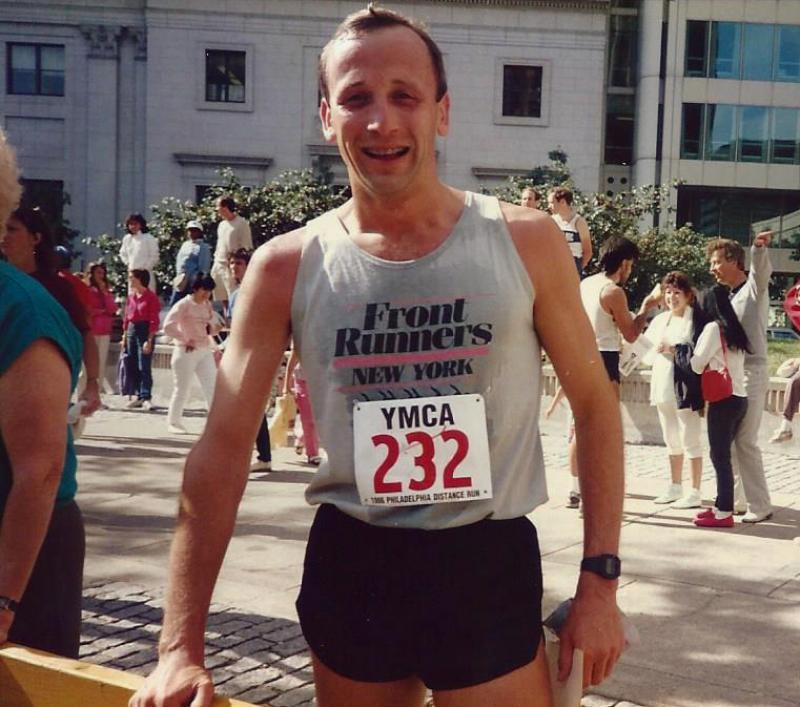 Rich Walker running Philadelphia Half Marathon, 1985