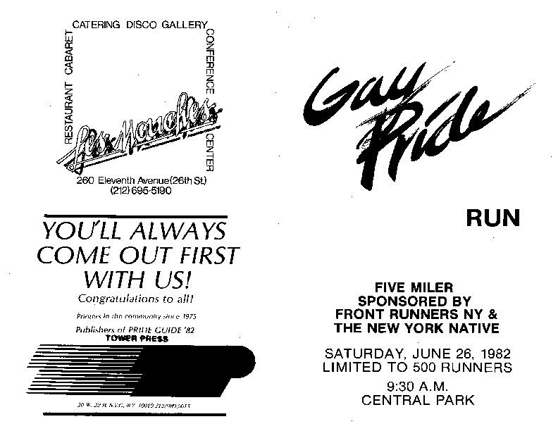 Gay Pride Run, 1982 [booklet]