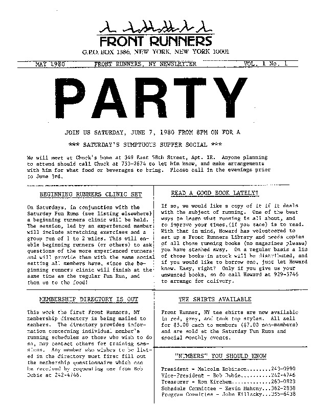 Newsletter, Vol. 1 No. 1, May 1980