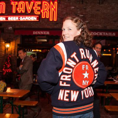 Megan Coryat wearing FRNY presidential jacket
