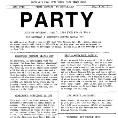 Newsletter, Vol. 1 No. 1, May 1980 [excerpted]