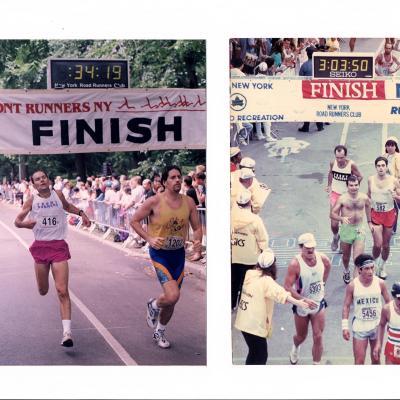 NYC Marathon finish line 1990 and Gay Pride Run 1991 finish line