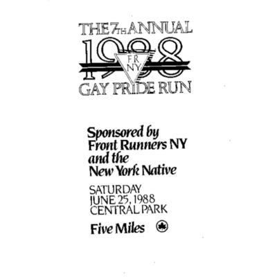 7th Annual Gay Pride Run 1988 [booklet]