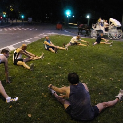 FRNY members stretching in Central Park