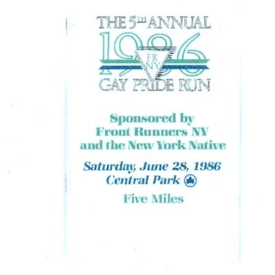 The 5th Annual FRNY Pride Run 1986 [booklet]