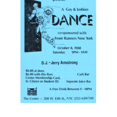 Dance party at Gay center co-sponsored by FRNY [flyer]