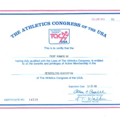 Athletics Congress of the USA certifies FRNY, 1988.pdf